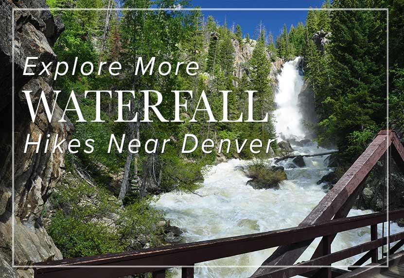 waterfall in canyon with bridge in foreground fish creek falls waterfall in colorado