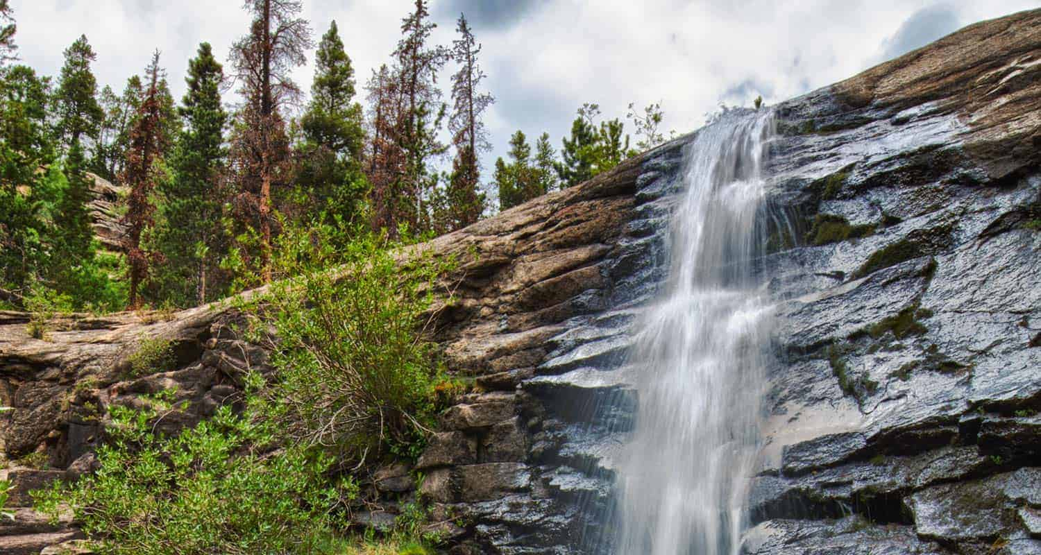 bridal veil falls in rocky mountain national park