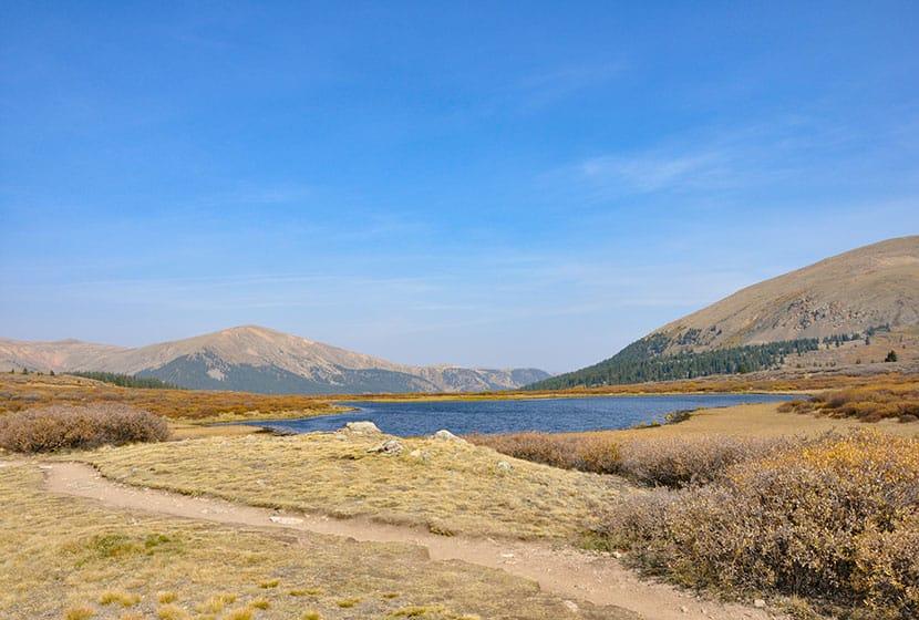 lake along bierstadt trail on guanella pass colorado hike