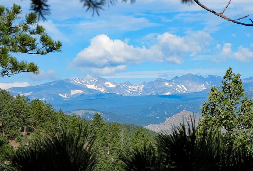 view toward indian peaks western front range of colorado from first flatiron alcove