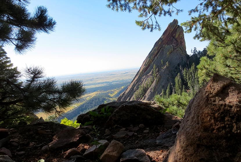 view of third flatiron from the notch between first and second flatiron hike in boulder