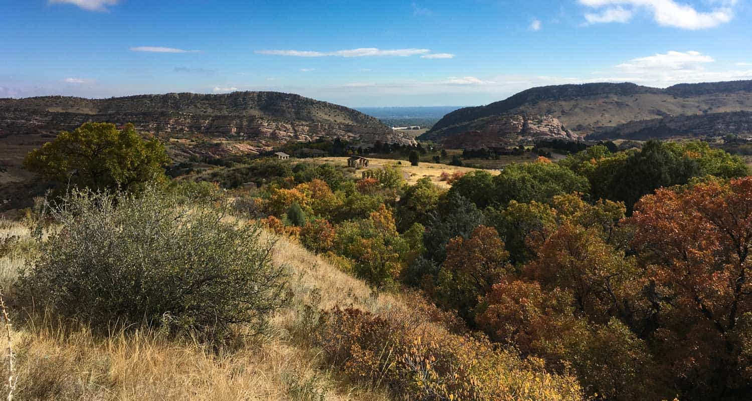 deer creek canyon trail near littleton in fall with picnic area in distance
