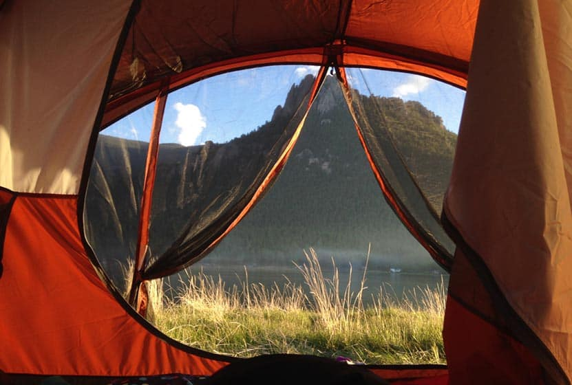 wellington-lake-camping-view-across-lake-to-castle