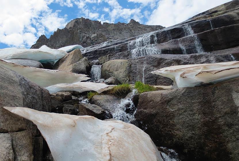 shelf lake falls rocky mountain national park below