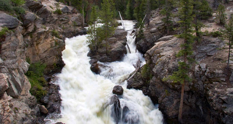 adams falls waterfall on hike in grand lake colorado rocky mountain national park