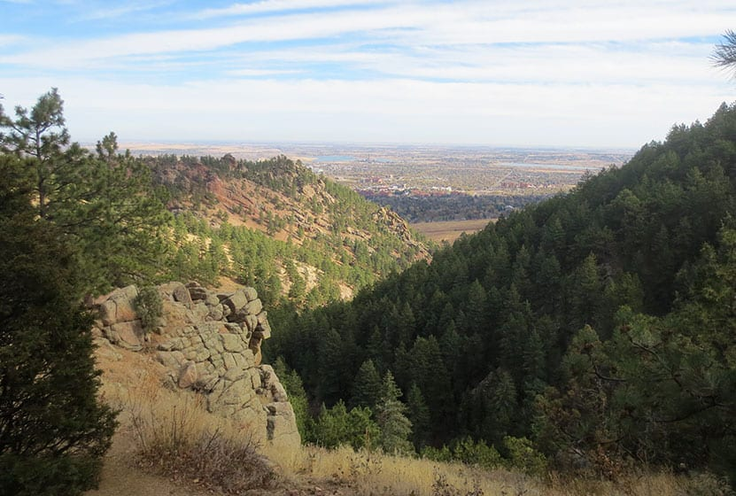 looking out to boulder and the plains from gregory canyon