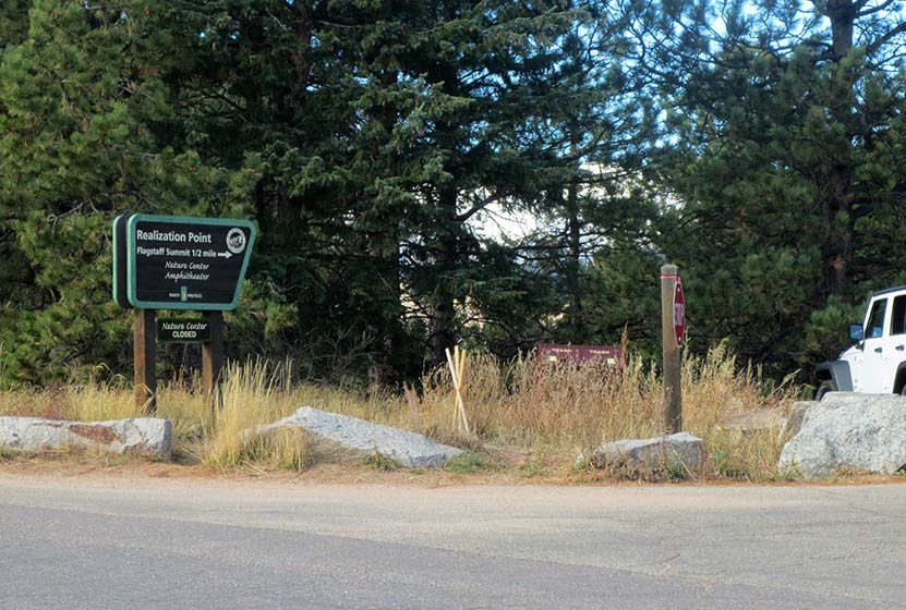 realization point sign and parking area along flagstaff road