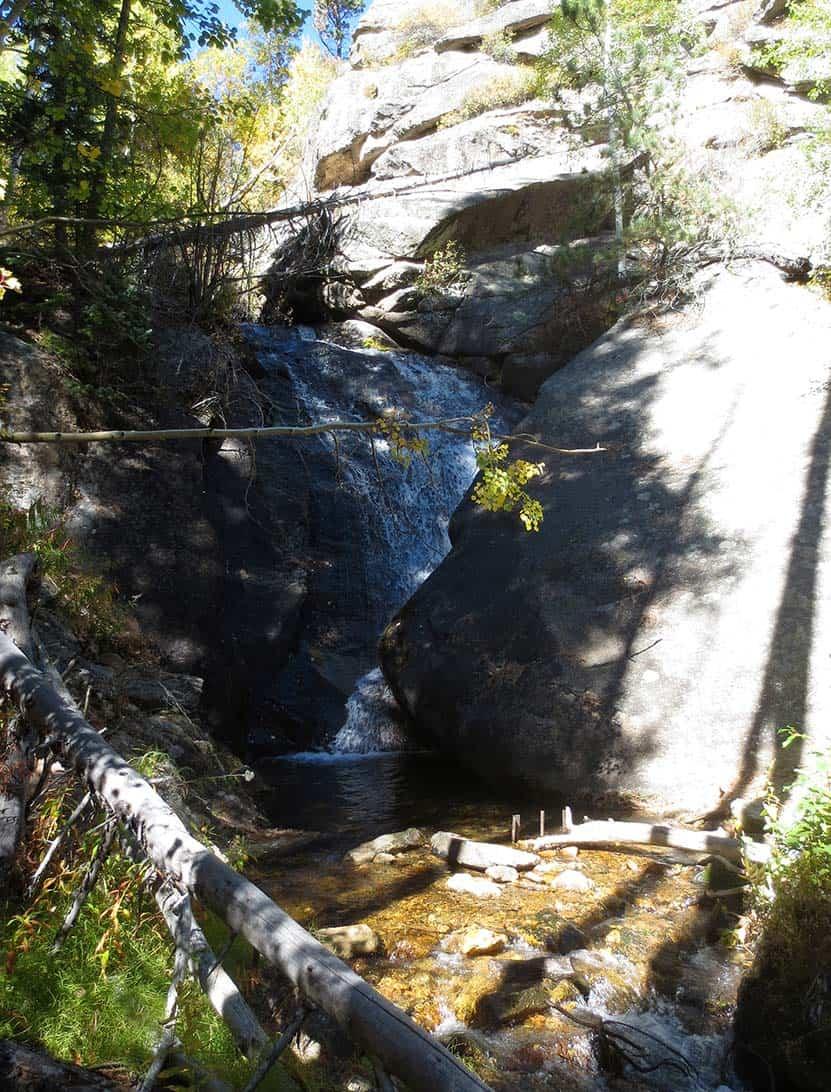 mcgregor falls waterfall ocky mountain national park tall