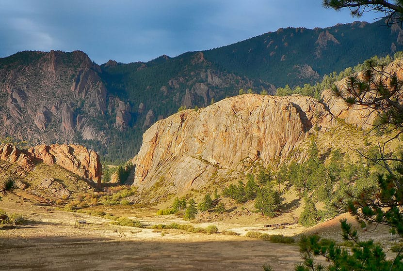 Sunlit mountain scenery of the tarryall mountains in colorado