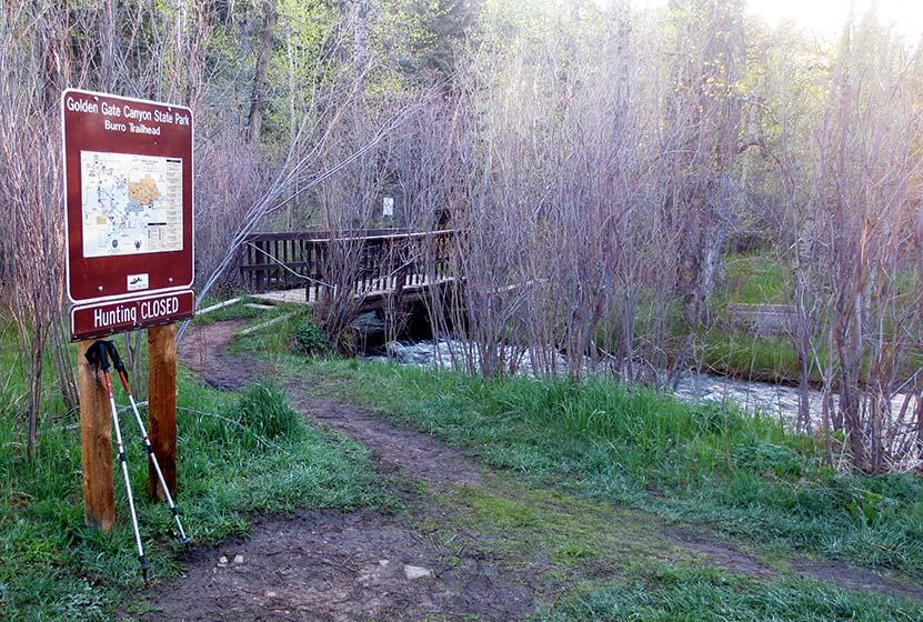 Bridge across Ralston Creek at Bridge Creek Trailhead in Golden Gate Canyon State Park