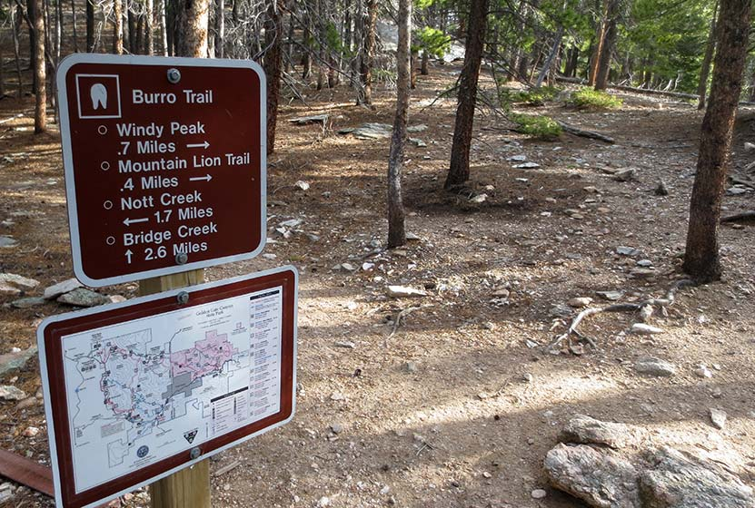 spur trail sign for Windy peak along Burro Trail in Golden Gate Canyon State Park