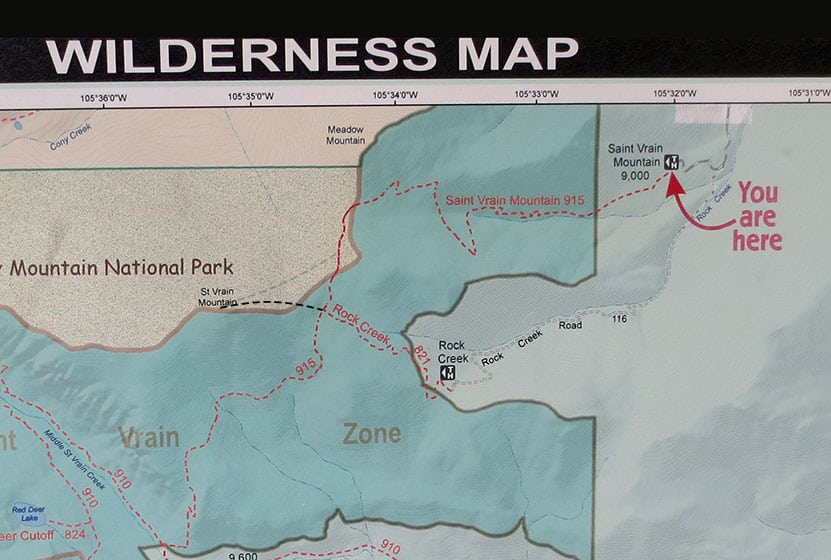 wilderness map with trails and topographic information for indian peaks area of colorado