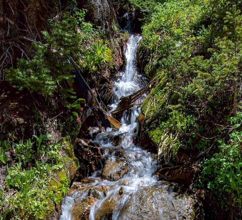 waterfall cascade along trail up to Devils Thumb Lake