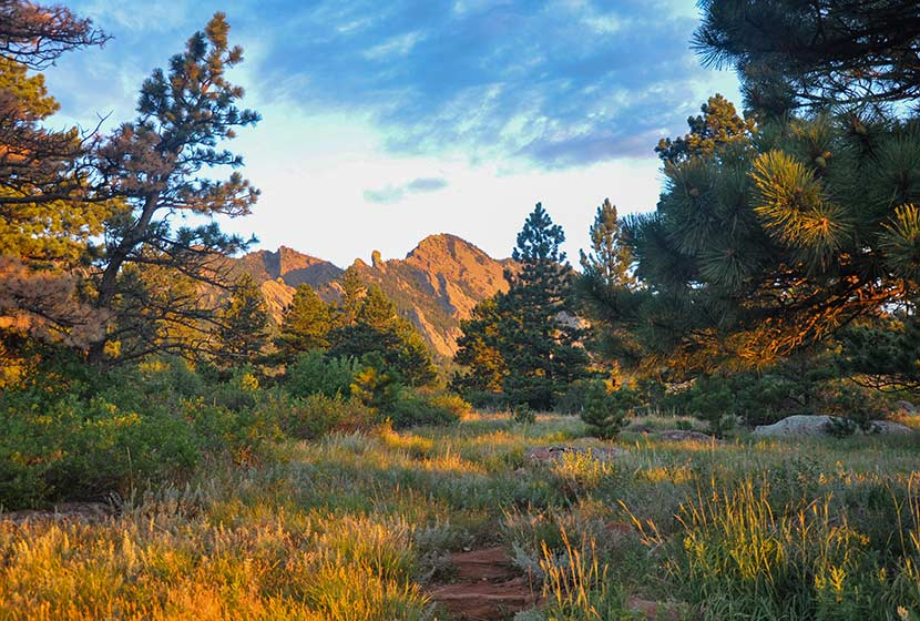 bear peak lit by sunrise south of boulder colorado