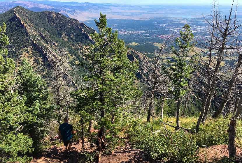 descent trail that is very steep and rocky leading down into fern canyon from bear peak in the flatirons
