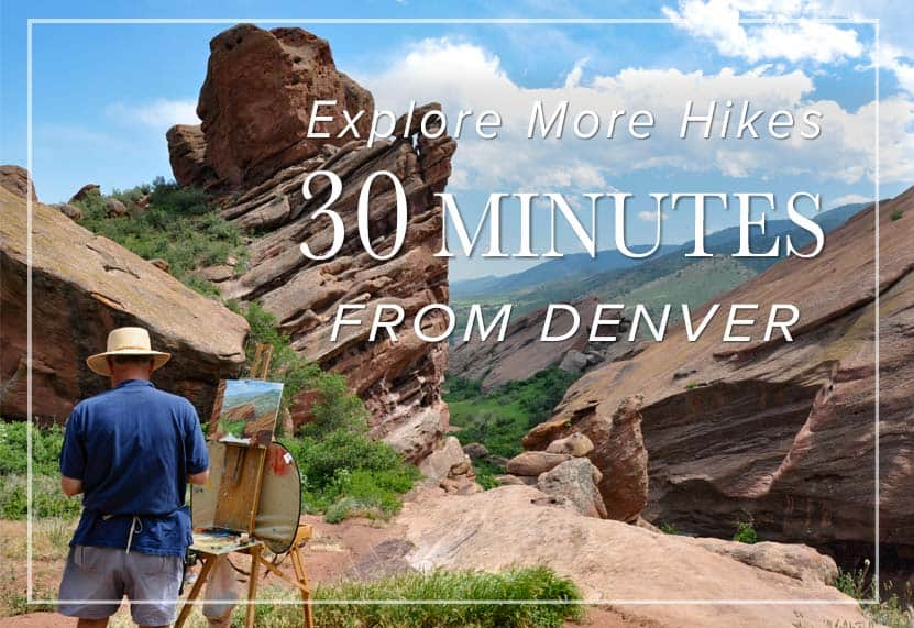 man painting red rocks at trading post trail in red rocks park near denver with red rocks in background hikes 30 minutes from denver