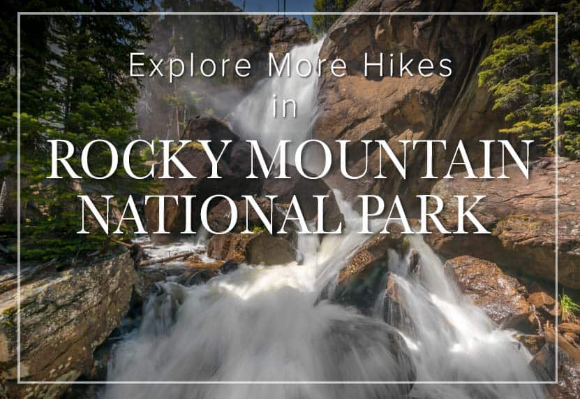 ouzel falls waterfall in rocky mountain national park wild basin hike with text overlay explore more hikes in rocky mountain national park