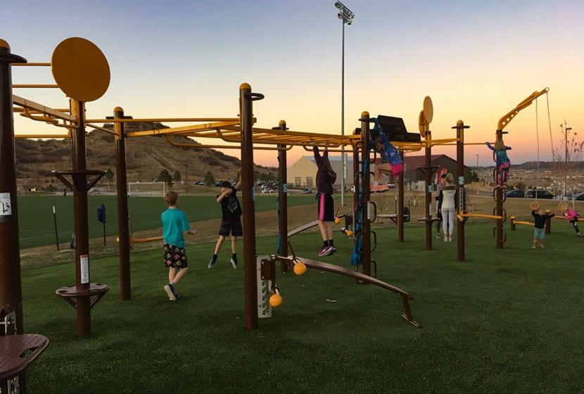 playground and workout stations at the phillip s miller park in castle rock colorado