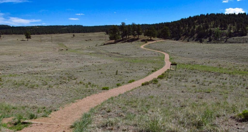 winding trail across meadow at florissant fossil beds in colorado