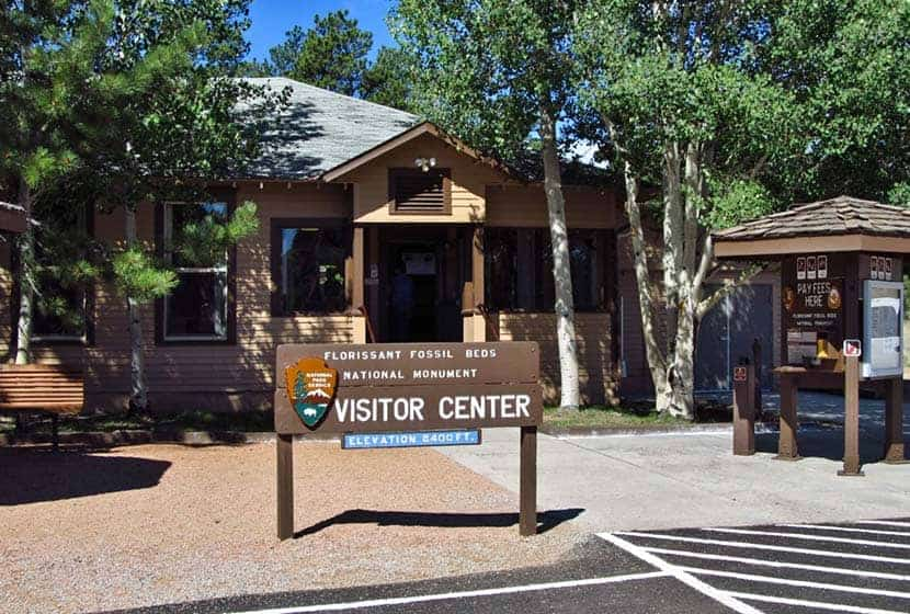 visitor center entrance at florissant fossil beds national monument in colorado