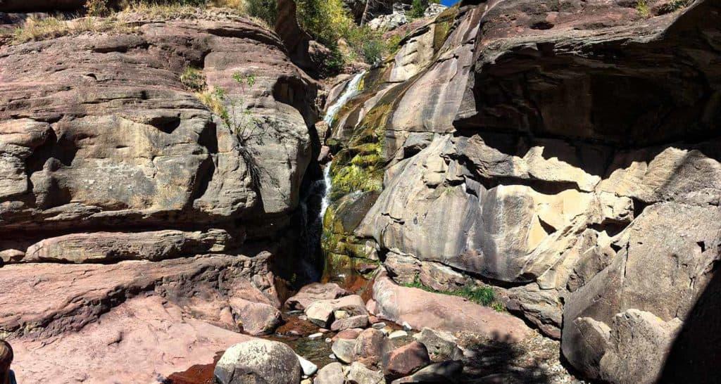 hays creek waterfall in roadside ravine in Colorado