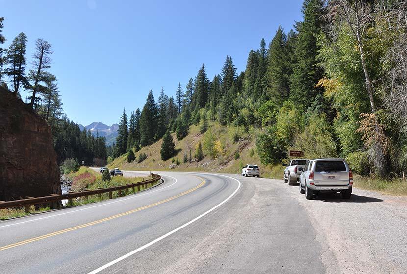roadside pulloff for hays creek falls near carbondale colorado