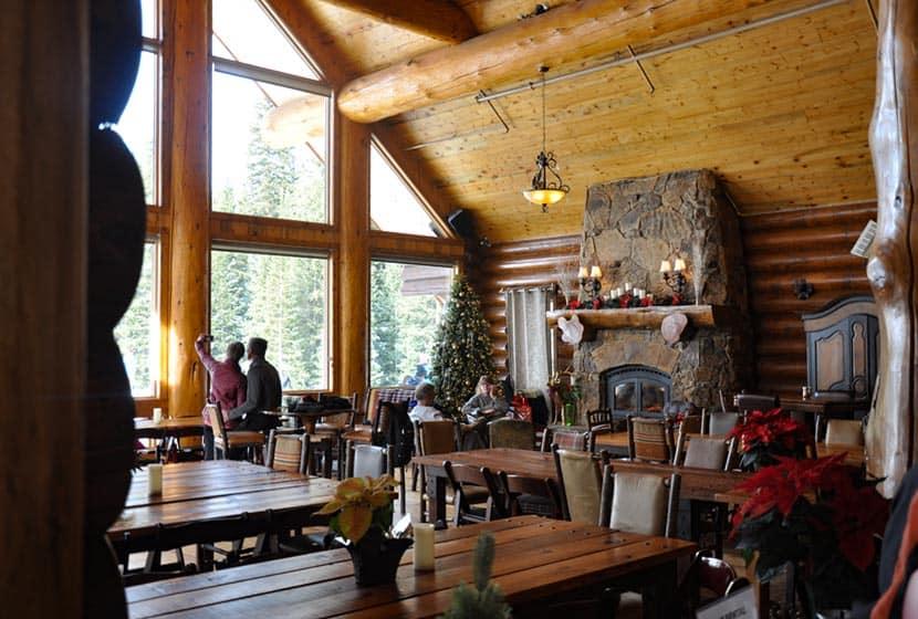 hearth in the great room of the breckenridge nordic center lodge