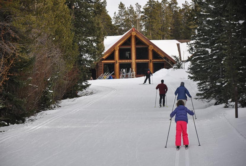 skiing back to the lodge at breckenridge nordic center