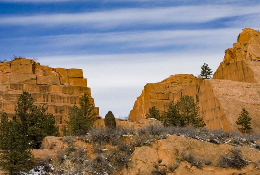 ruins of old quarry at red rock canyon open space on hike in colorado springs