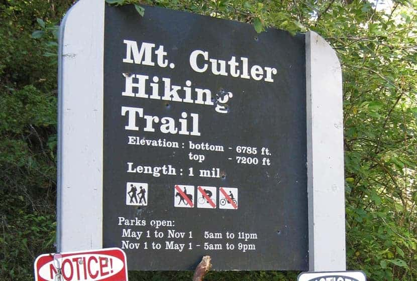 trail sign at trailhead for mt cutler in colorado springs