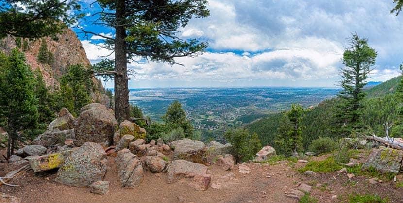 view down into colorado springs along mt. blodgett peak hike near colorado springs