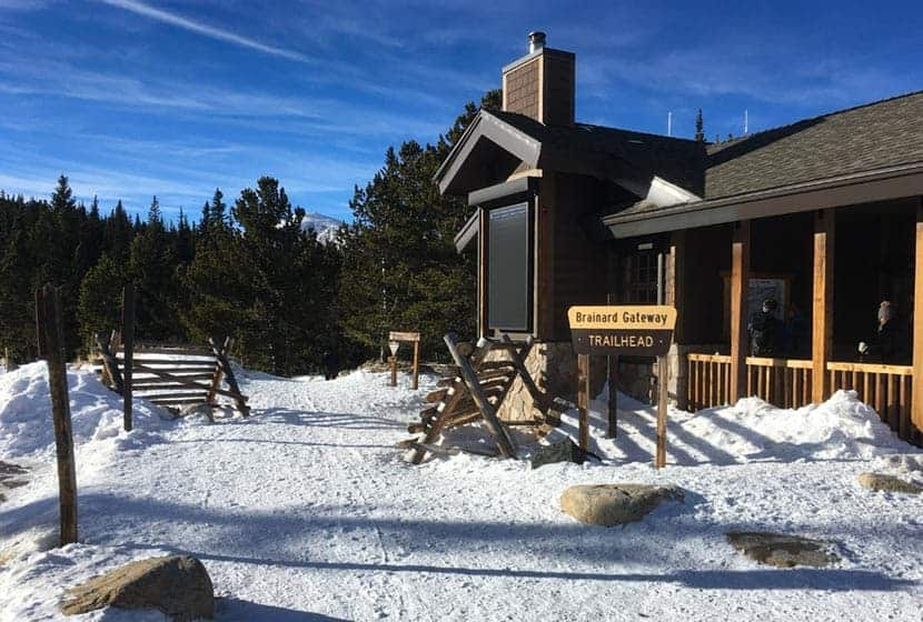 brainard lake gateway trailhead in winter