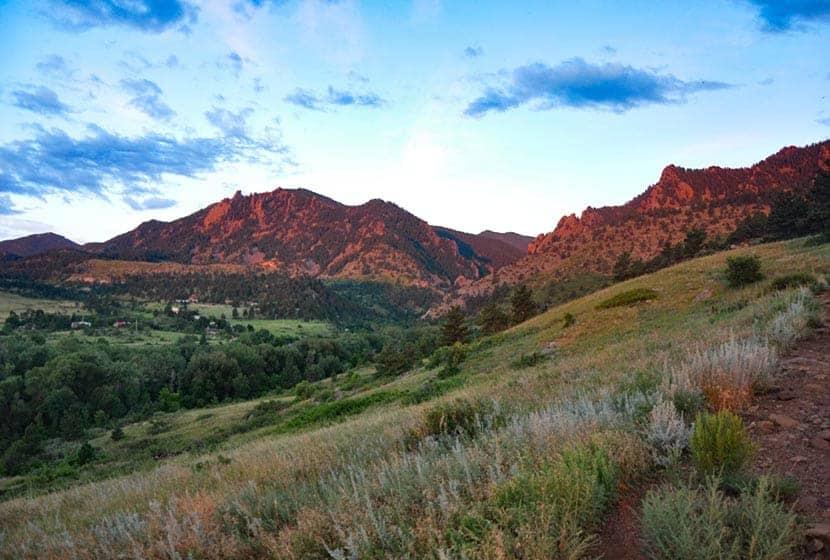 view from mesa trail of sunlit eldorado canyno during morning hike along mesa trail