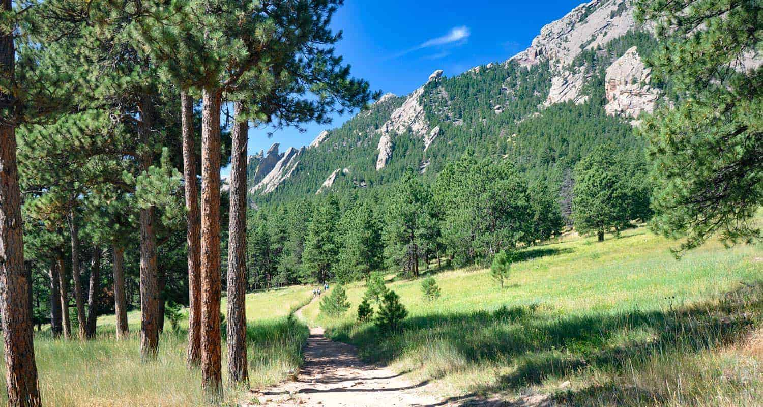 south mesa trail hike with ponderosa pines in foreground and flatirons mountains in background near boulder colorado