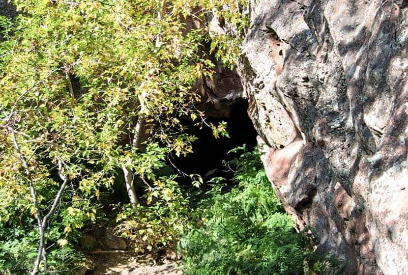 looking into entrance to mallory cave on hike near boulder colorado