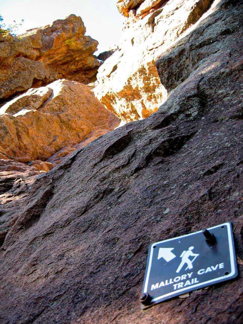 final scramble up granite rock on mallory cave trail