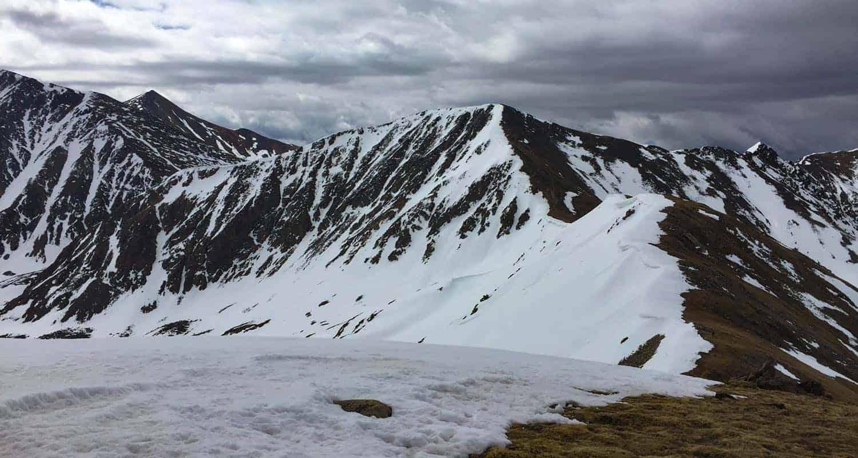grizzly peak near loveland pass with snow on ridgeline