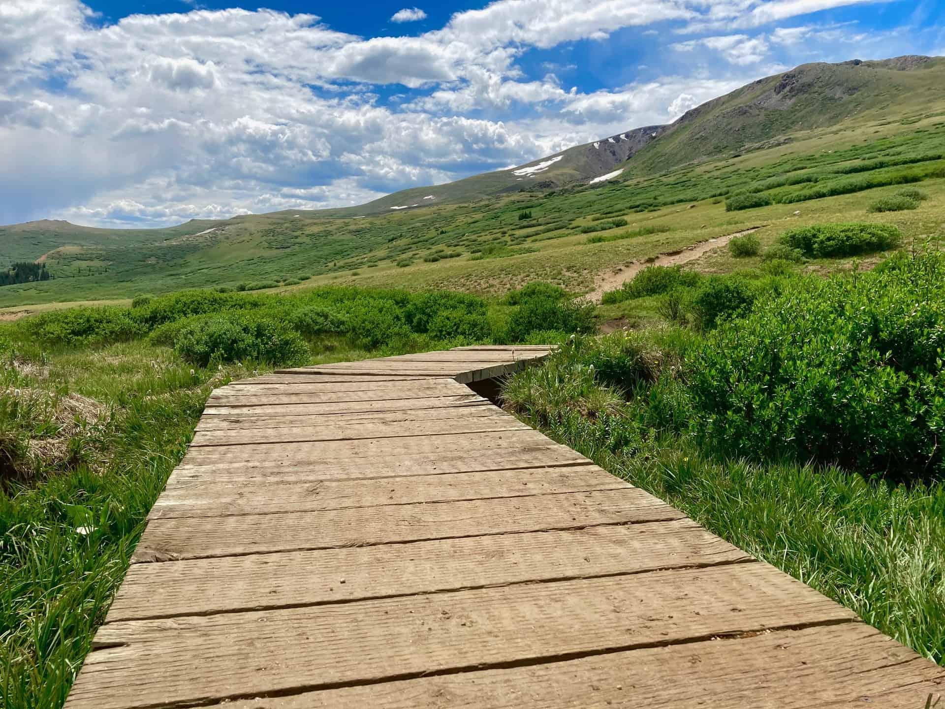 Square Top Lakes trail boardwalk on Guanella Pass